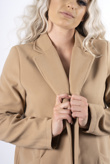 Beige mid length collared duster jacket