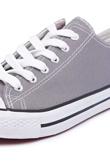 Grey Canvas Stripe Sole Flat Trainers