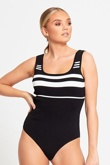 Black And White Striped Bodysuit