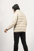 Mens Beige Hooded Puffer Coat