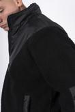 Mens black half zip borg pullover