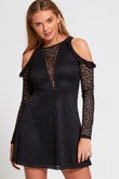 Black Cold Shoulder Lace Mini Dress