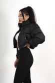 Black Cropped Pocket Puffer Coat