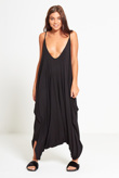 Black Draped Romper Harem Jumpsuit