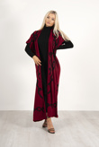 Red And Black Maxi Cardigan And Knitted Dress Set