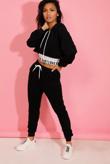 Black Love Top Crop Hoodie And Joggers 3 Piece Set