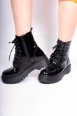 Black Patent Lace Up Biker Boots