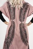 Pink And Black Maxi Cardigan And Knitted Dress Set