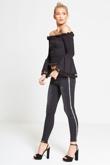 Black Silver Sequin Stripe Skinny Jeans