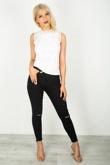 Black Slit Knee Raw Hem Skinny Jeans