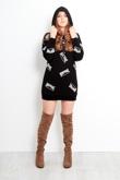 Black Slogan New York Sweat Hood Dress