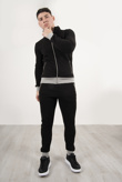 Black And Grey Contrast Zip Up Tracksuit