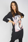 Black Vogue Girl Printed T-shirt Dress