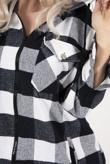 Black And White Plaid Hooded Oversized Shirt
