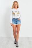 Blue Denim Crochet Hem Shorts