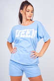Blue Queen Oversized T-shirt And Shorts Lounge Set