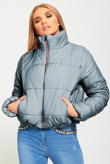 Grey High Neck Cropped Puffer Jacket