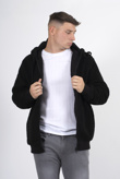 Mens black zip up hooded teddy jacket