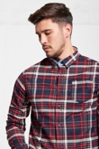 Mens Red Brushed Check Button Up Shirt