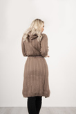 Brown Cable Knit Hooded Longline Cardigan With Belt