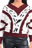 Burgundy detail v neck knit jumper