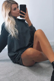 Charcoal Oversized Baggy Pocket Sweat Hood Dress