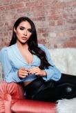 Chloe Brockett Blue Button Front Organza Mesh Sleeve Blouse