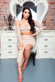 Chloe Brockett Nude Slinky Mesh Ruched Bardot Top And Midi Skirt Co Ord