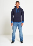 Mens BlueContrasting Pull Over Hoodie