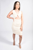 Cream Ribbed Twist Front Cut Out  Bodycon Dress