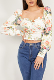 Cream Floral Print Milkmaid Top