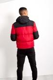 Red Mens Contrast Zip Up Hood Jacket