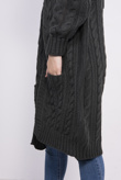 Charcoal Cable Knit Pocket Detail Cardigan
