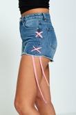 Denim Lace Up Fray Hem Shorts