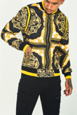 Mens Black Baroque Print Bomber Jacket
