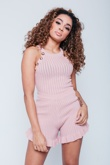 Dusty Pink Ribbed Frill Button Detail Short Set