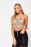 Gold Halter Neck Chain Mail Crop Top