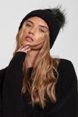 Green Faux Fur Pom Pom Beanie Hat