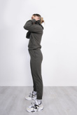 Khaki Cropped Hoodie And Jogger Lounge Set