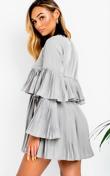 Grey Pleated Ruffle Mini Dress