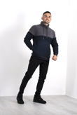 Mens Grey Contrast Pullover Fleece