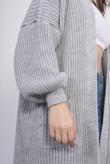 Grey Balloon Sleeve Pocket Detail Knit Cardigan
