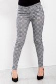 Grey Check Detail Skinny Jeans
