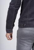 Mens Grey Contrast Borg Collar Cord Jacket