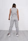 Grey Zip Up Pocket Detail Jumpsuit