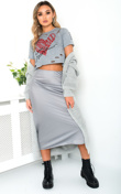 Grey Knit Longline Belted Cardigan