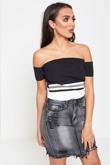 Grey Stone Wash Distressed Stretch Denim Skirt