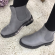 Grey Suede Classic Chelsea Boot With Diamante Detail