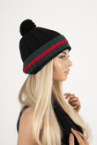 Black Contrast Hat And Scarf Set