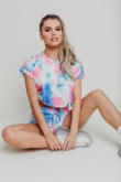 Hayley Hughes Modelled Blue Tie Dye Ruched Crop Top And Shorts Set